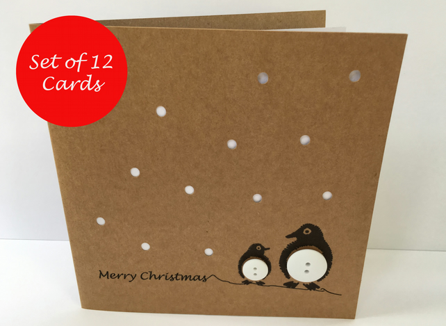 Set of 12 Penguin Christmas Cards - Buttons