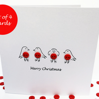 Pack of 4 Christmas Cards - Button Robins Christmas Card