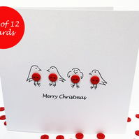 Christmas Card Set - Pack of 12 Cute Robin Cards with Buttons - Handmade Cards