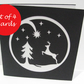Set of 4  Christmas Cards - Paper Cut Christmas Scene
