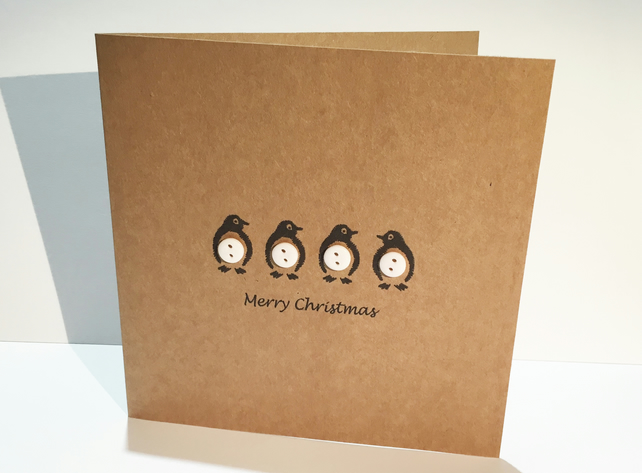 Penguin Christmas Card - Buttons