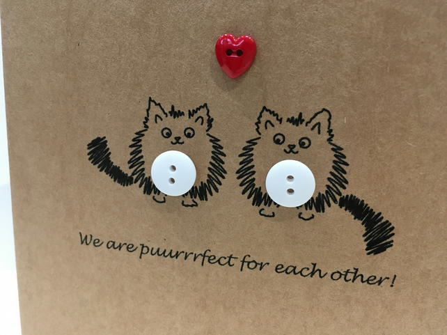 Cute Cat Valentine's Day Card with Buttons