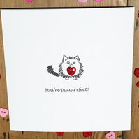 Cat Valentine Card - Valentine's Day Card