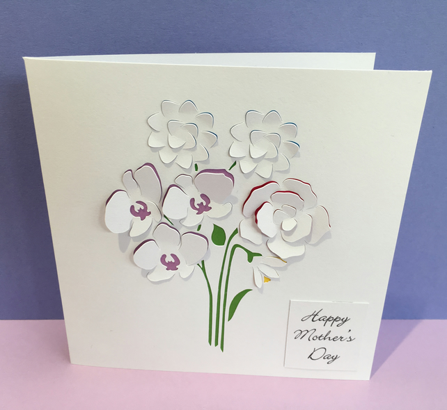 Birthday Card - Mother's Day Card - Paper Cut Flowers