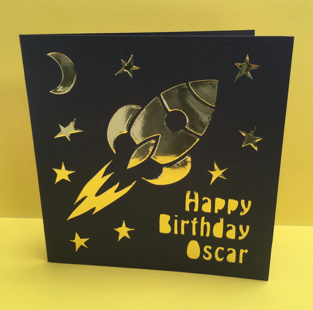 Personalised Spaceship Birthday Card