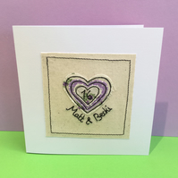 Personalised Wedding Anniversary Card with Embroidered Heart