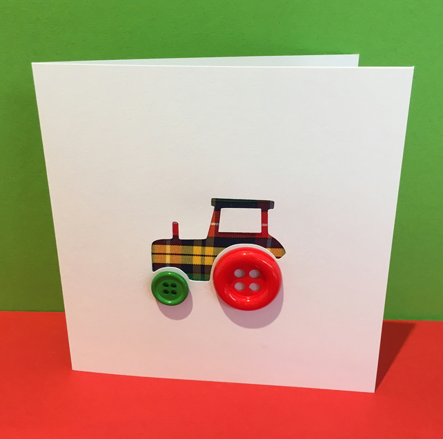 Tractor Card with Button Wheels