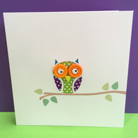 Owl  card - Hand Cut with Button Eyes