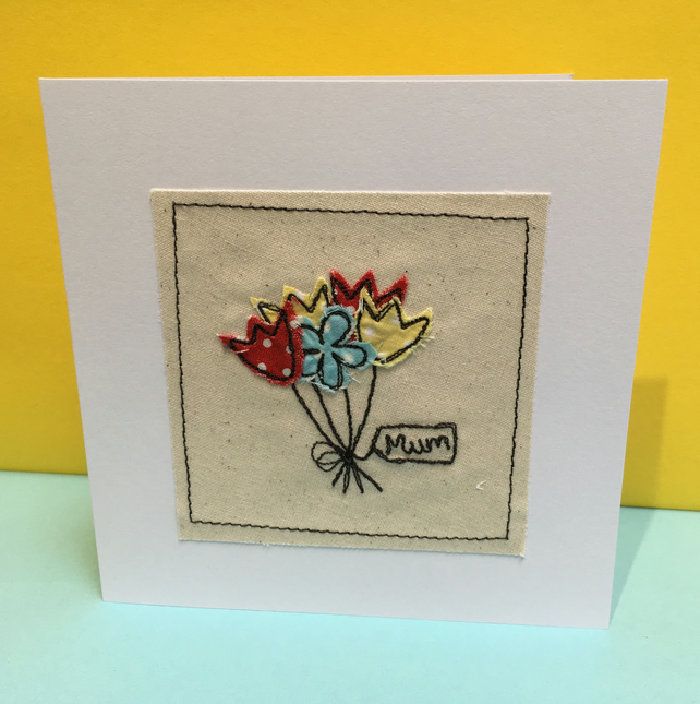 Mother's Day Card - Birthday Card for a Mum - Embroidered