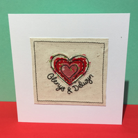 Personalised Wedding Card with Embroidered Heart - Wedding Anniversary Card