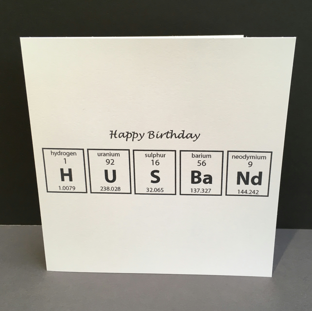 Birthday Card Husband Chemistry Folksy