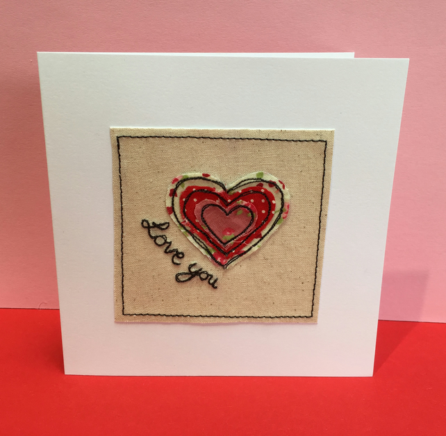 Valentine's Day Card with Embroidered Heart - Wedding Anniversary Card