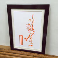 Paper cut Art - Cricket Picture, Bowler, Cricketer, Sport Art, Artwork, Hand Cut