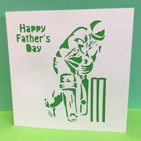 Father's Day Cricket Card- Paper Cut Cricketer