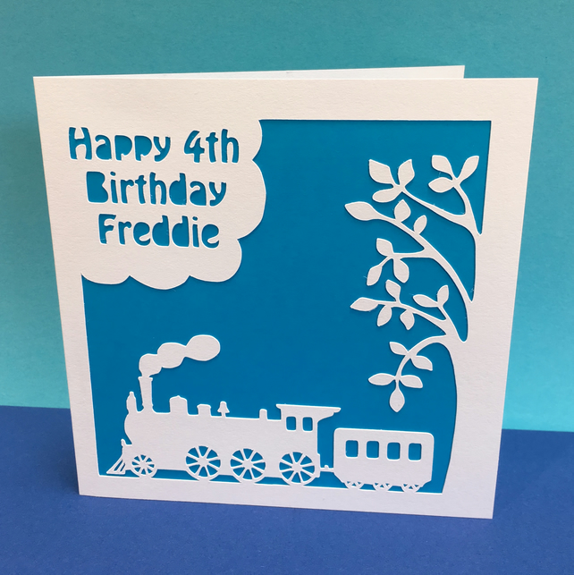 Personalised Steam Train Birthday Card for a Child