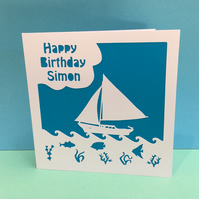 Sailing Boat Birthday Card - Personalised