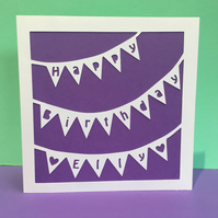 Bunting Birthday Card - Personalised