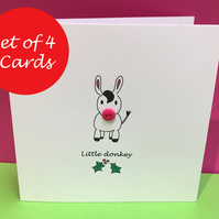 Christmas Card Set of 4 - Little Donkey
