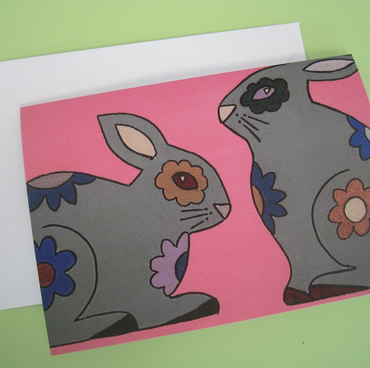 Pink Floral Bunny Rabbit Greetings Card