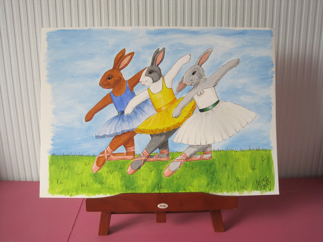 Bunny Rabbit ballerina Ballet Dance Original Picture Painting Art