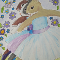 Rabbit Ballet Original Art Picture Painting Ballerina Bunnies in Tutus