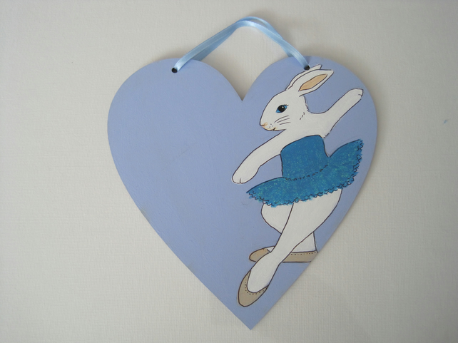 Bunny Name Plaque Rabbit Ballerina Ballet Dancer Love Heart Tutu Wood Wooden