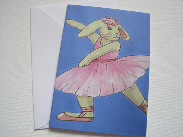 Bunny Rabbit Ballet Dancer Greetings Card