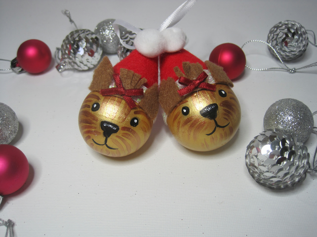 2x Yorkshire Terrier Dog Christmas Tree Bauble Decorations Yorkie