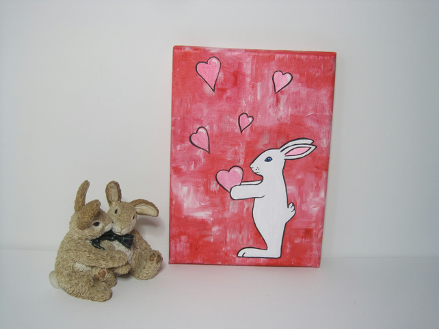 Valentine Heart Bunny Rabbit Painting