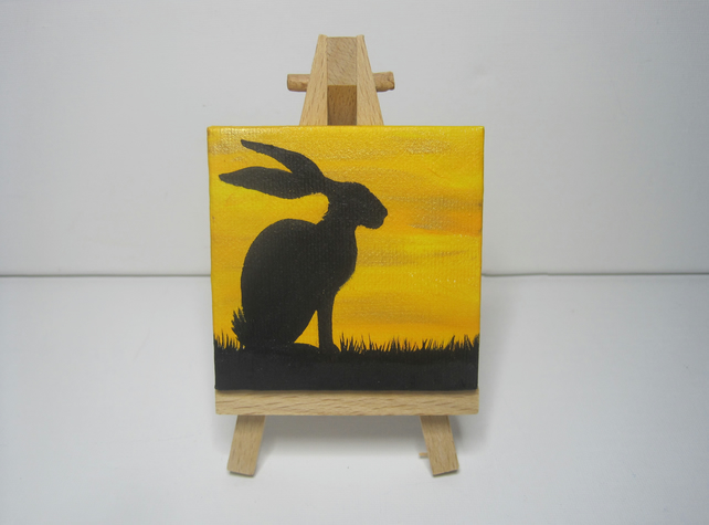 Rabbit Painting original art miniature silhouette canvas