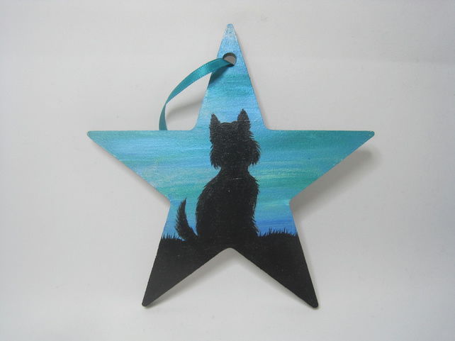 Westie West Highland Terrier Dog Star Hanging Decoration Painted Silhouette