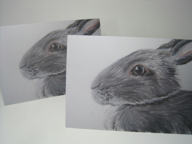 Rabbit  Bunny Picture Blank Greetings Card from original painting