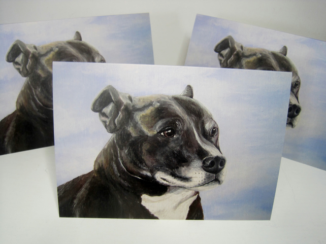 Staffie Dog Blank Greetings Card Staffordshire Terrier