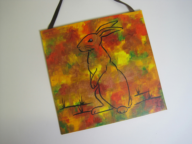 Bunny Rabbit Autumn Colours Original Painting SALE