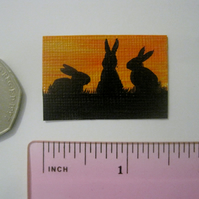 Dolls House Miniature Original Painting Bunny Rabbit Silhouette
