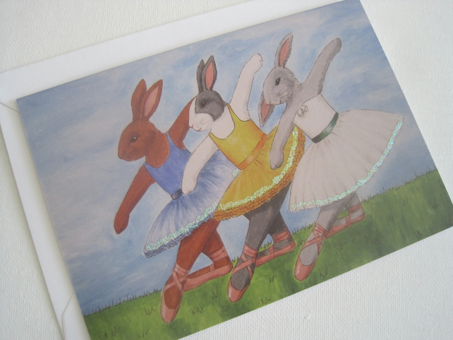 Bunny Ballerina Greetings Card