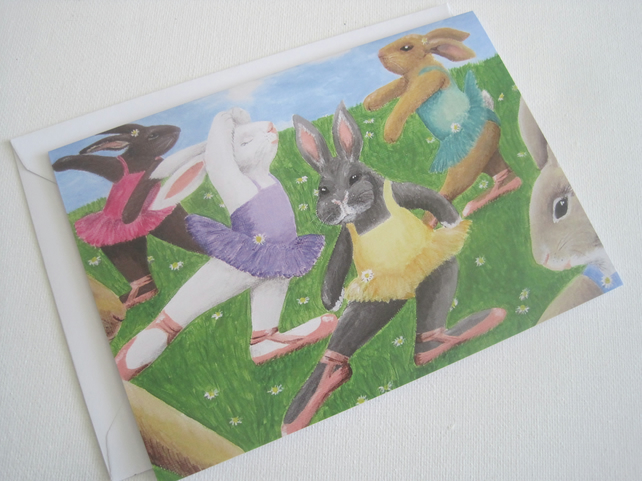 SALE  Rainbow Ballet of Bunny Rabbits Greetings Card
