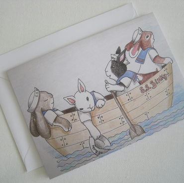 Bunnies in a Rowing Boat Greetings Card