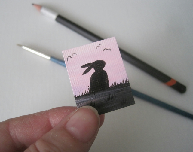 Dolls House Miniature Original Painting Bunny Silhouette