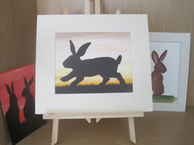 Leaping Bunny Rabbit Silhouette Original Painting Picture Mounted