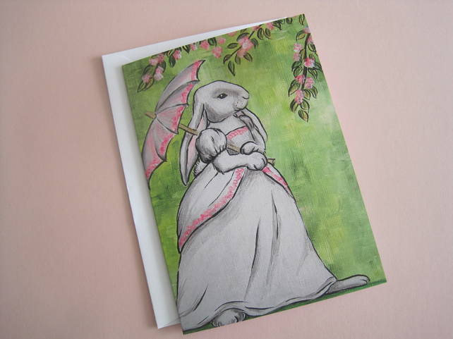 Lady Lop Bunny Rabbit Blank Greetings Card