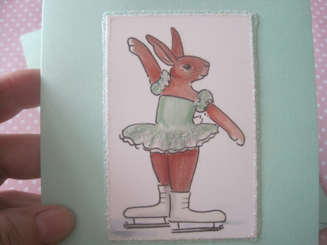 Ice Skater Bunny  Greetings Card