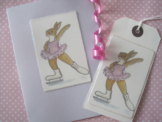 Greetings Card and Matching Gift Tag Ice Skating