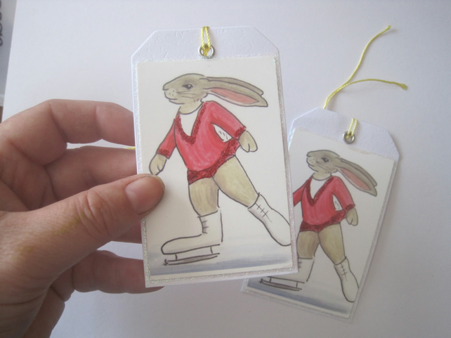 Ice Skating Bunny Gift Tag x 2