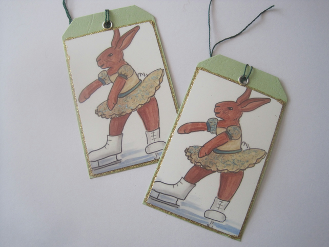 Ice Skater Bunny Gift Tag x 2