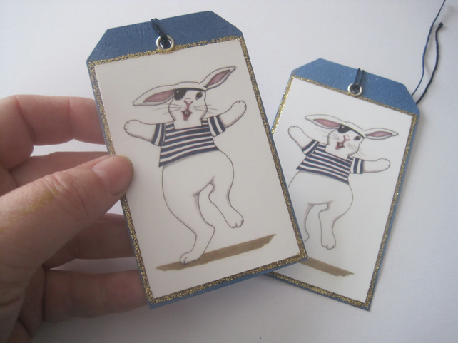 Pirate Bunny Gift Tag x 2
