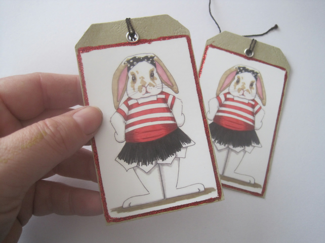 Pirate Bunny Rabbit Gift Tag x 2