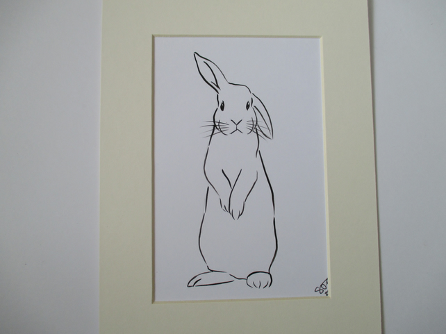 Bunny Rabbit Original Art Line Painting Mounted Picture