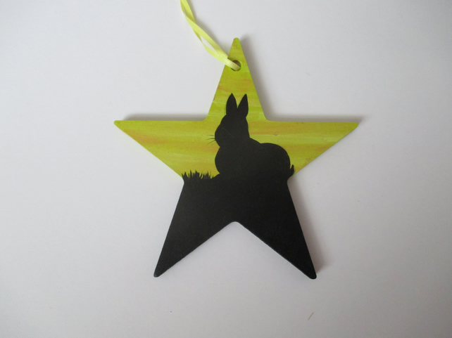 Bunny Rabbit Painted Star Hanging Decoration Silhouette