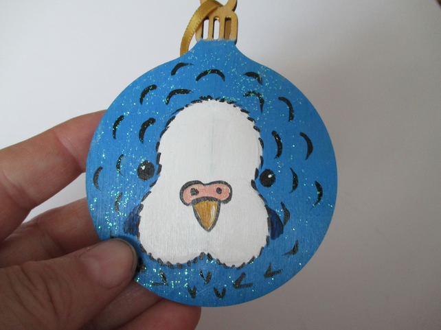 Budgie Budgerigar Christmas Tree Decoration Bauble Blue and White